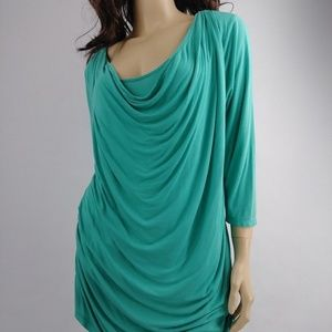 Apt. 9 Women's Teal Waterfall Blouse Size XL